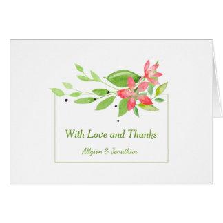 Cartes La verdure d'aquarelle part du Merci rose de