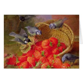 Cartes La vie toujours avec des fraises et des mésanges