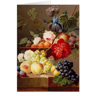 Cartes La vie toujours avec le fruit et les fleurs