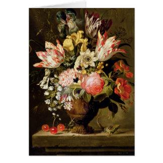 Cartes La vie toujours des fleurs dans un vase avec un
