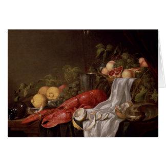 Cartes La vie toujours du fruit et d'un homard