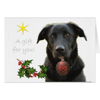 Cartes Labrador retriever noir apportant le cadeau