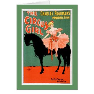 Cartes L'affiche vintage de théâtre de fille de cirque
