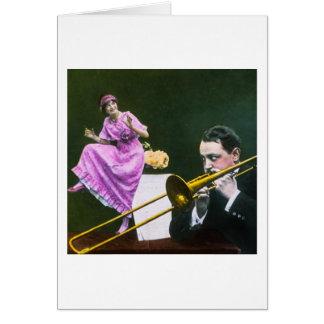 Cartes L'aileron de trombone de jeux d'homme danse sur la