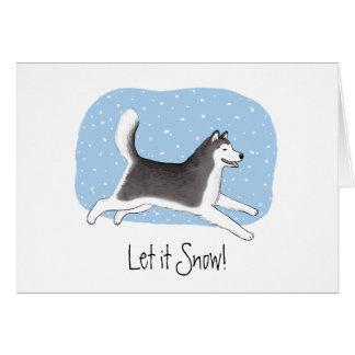 """Cartes """"Laissez-le neiger !"""" Conception heureuse de chien"""