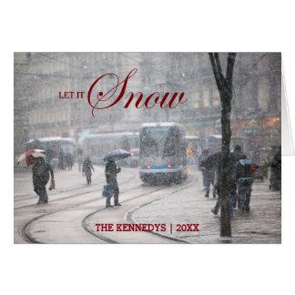 Cartes Laissez lui neiger - tempête de neige française