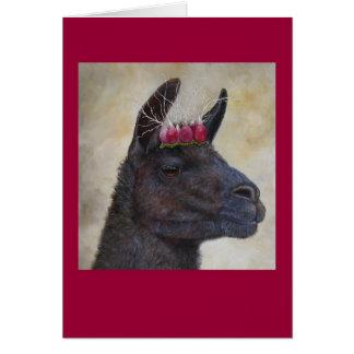 Cartes Lama avec la couronne de radis
