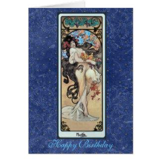 """Cartes ~ """"L'Amethyste"""" février BirthdayCard de Mucha"""