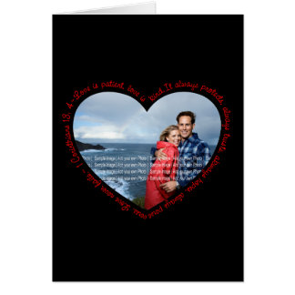Cartes L'amour est noir et rouge patients de coeur de
