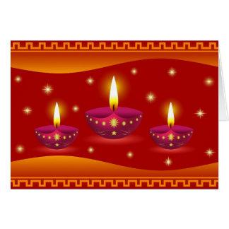 Cartes Lampes décoratives rougeoyantes de Diwali