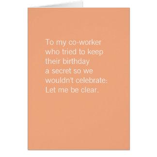 Cartes L'anniversaire | de collègue durcissent librement