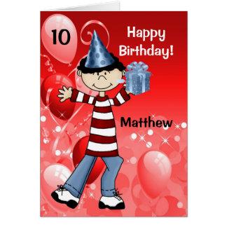 Cartes L'anniversaire de l'enfant rouge avec l'âge pour