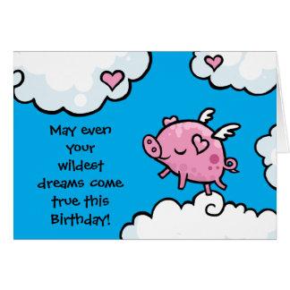 Cartes L'anniversaire de porc de vol rêve le modèle de