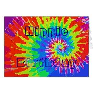Cartes L'anniversaire hippie super teignent en nouant la
