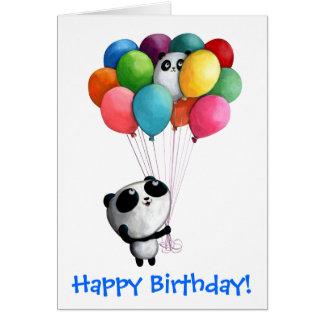 Cartes L'anniversaire monte en ballon l'ours panda