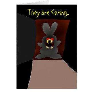 Cartes Lapin de vampire à la porte