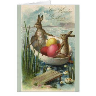 Cartes Lapins de Pâques vintages dans un bateau avec des