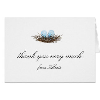 Cartes L'aquarelle élégante jumelle le Merci de nid