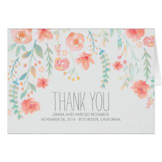 Cartes L'aquarelle fleurit le Merci de mariage