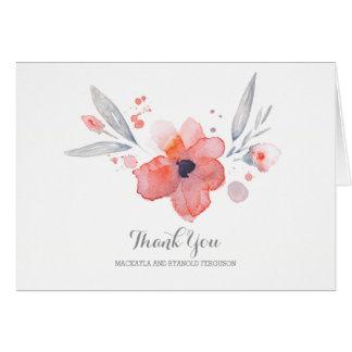 Cartes L'aquarelle fleurit le Merci romantique de mariage