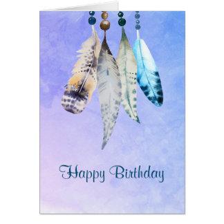 Cartes L'aquarelle perle 'anniversaire de plumes de n le