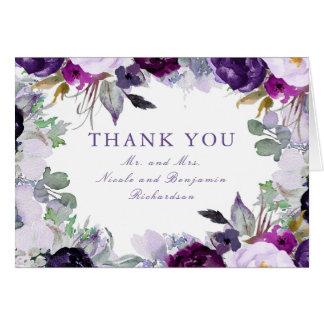 Cartes L'aquarelle pourpre fleurit le Merci de mariage