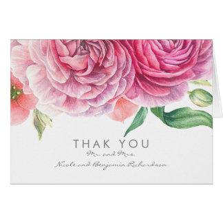 Cartes L'aquarelle rose fleurit le Merci élégant de