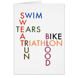 Cartes larmes de sueur de sang de course de vélo de bain