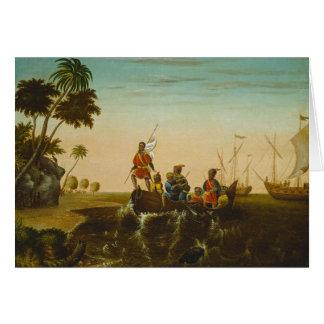 Cartes L'atterrissage de Columbus, c.1837 (huile sur la
