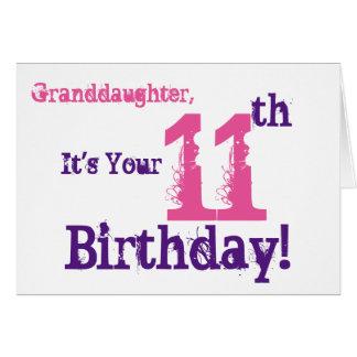Cartes Le 11ème anniversaire de la petite-fille dans le
