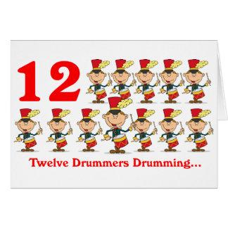 Cartes Le 12ème jour de Noël douze tambours de batteurs