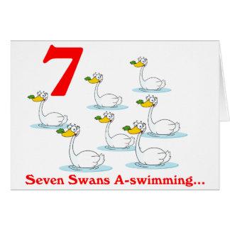 Cartes Le 7ème jour de Noël sept cygnes une natation