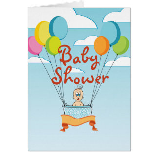 Cartes Le baby shower monte en ballon l'invitation