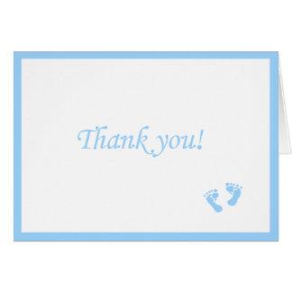 Cartes Le bébé bleu Empreinte de pas-Vous remercient