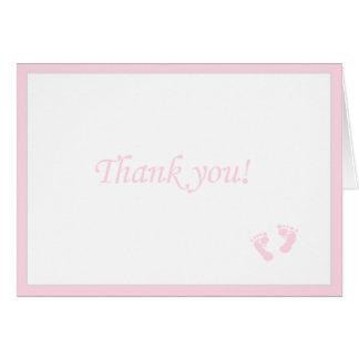 Cartes Le bébé rose Empreinte de pas-Vous remercient
