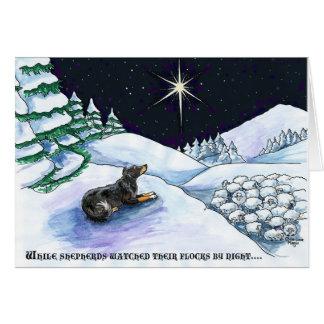 Cartes Le berger de Noël observe des troupeaux par nuit