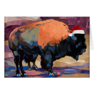 Cartes Le bison de Noël personnalisable