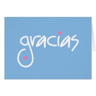 Cartes Le bleu de Gracias vous remercient dans n'importe