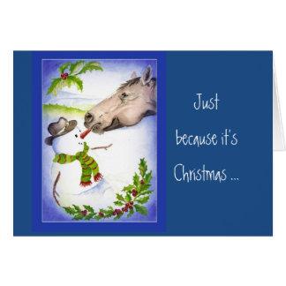 Cartes Le bonhomme de neige de cheval de Noël d'amusement