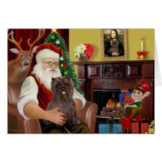 Cartes Le cairn Terrier Brindle de Père Noël