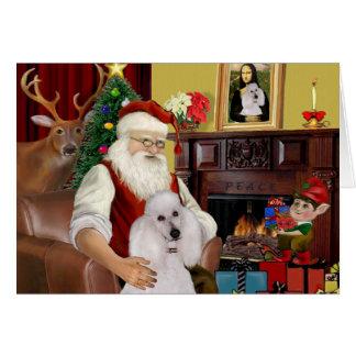 Cartes Le caniche standard blanc de Père Noël