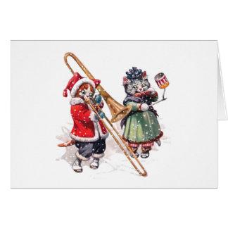 Cartes Le chat joue le trombone dans la neige