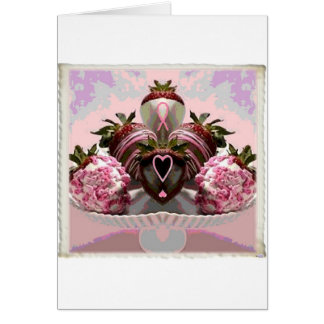 Cartes Le chocolat rose de ruban a plongé des fraises