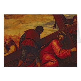 Cartes Le Christ descendant sous le poids de la croix