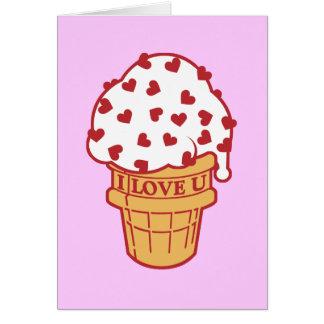 Cartes Le coeur arrosent le cornet de crème glacée