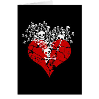 Cartes Le coeur brisé avec des crânes