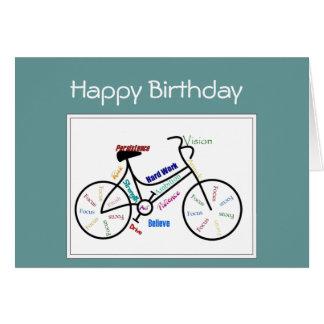 Cartes Le cycle de vélo de salutation d'anniversaire,