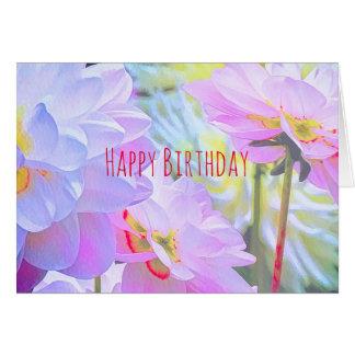 Cartes Le dahlia d'aquarelle fleurit le joyeux