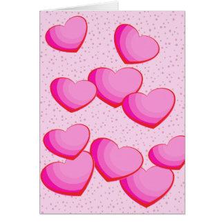 Cartes Le groupe rose de coeur pointille Valentine