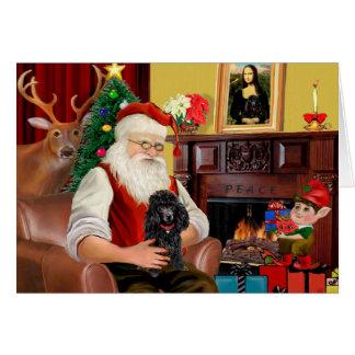 Cartes Le jouet de Père Noël/Min. Poodle noirs